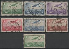 "FRANCE STAMP AERIEN 8 / 14 "" AVION SURVOLANT PARIS 7 TIMBRES"" OBLITERE TTB  M093"