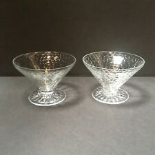 2 Vintage Textured Clear Glass Footed Sherbet Cups Dessert / Ice Cream Dishes