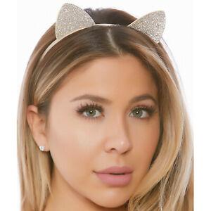 Rhinestone Cat Ears Headband Crystals Shiny Kitten Kitty Costume Festival 997944