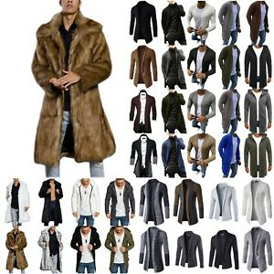 Mens Knitted Cardigan Trench Coat Jacket Winter Warm Overcoat Long Tops Outwear