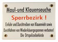 Emaille Schild Maul- und Klauenseuche Sperrbezirk Warn Emailleschild 17x12cm neu
