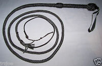 8 foot 10 plait BLACK  Real Leather Bullwhip Indiana Jones Stuntman Bull Whip