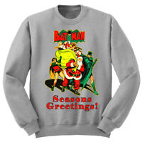 Mens Batman Retro Christmas Jumper Joker Xmas Spiderman Dark Knight Sweater