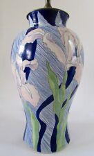 Signed Art Studio Pottery IRIS Flower Table Lamp