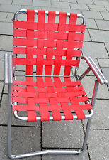 Vintage Aluminium Folding,Lawn Chair 1950 USA,Klappstuhl,2,5 kg,Designmöbel,Red