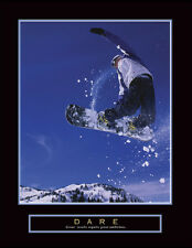 Snowboarding DARE Snowboarder Motivational Inspirational POSTER Print
