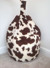 Cover only bean bag brown cow faux fur 3 cubic ft size Ideal soft toy stotage