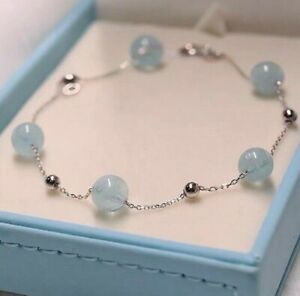 925 Silver Natural Aquamarine 8mm Beaded chains Bracelet 7-7.25 Inches