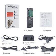 8 GB acciaio Vocale Audio Dittafono registratore di suoni Lettore MP3 100 h registrazione