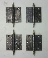 "4 Antique Vintage STANLEY SW Door Hinges 3.5"" x 3.5"" Brass Steeple Tips"