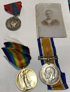 WW1 War Medals + George V1 Medal And Photo