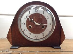 Antique ART DECO Old DUPONTIC Mantel Clock,Wind Up ENFIELD Movement,Chiming,Oak