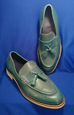 COLE HAAN GREEN LEATHER TASSEL SLIP ON LOAFER SHOES 8 M RESORT COUNTRY CLUB RARE