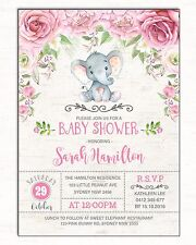 Elephant Baby Shower Invitation Floral Invite Pink Flowers Birthday Supplies