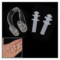 Clear Soft Silicone Swimming Set Nose Clip+Ear Plug Earplug New