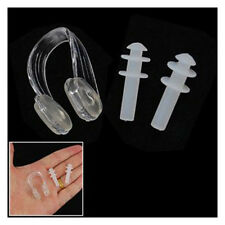 Clear Soft Silicone Swimming Set Nose Clip+Ear Plug Earplug New