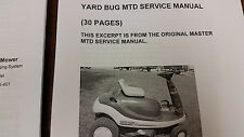 Transmission / Service Manual For MTD Yardbug YARD BUG Beetle Riding Mower,30Pgs