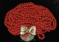 "Vintage Estate 18k Undyed 7 Strand Red Coral Beads 21.5"" Necklace 67.75 Grams"