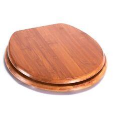 Asiento de inodoro con sujeción de acero inoxidable madera 42,5x36x1,7cm Bambu