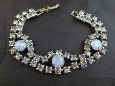 Vintage Hi End Design Blue Rhinestone & Satin Glass Art Deco Bracelet Silver Tn