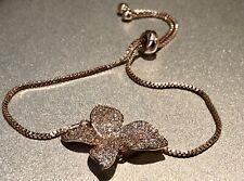 18K Rose Gold Flower Leaf Adjustable Bracelet made w/ Swarovski Crystal Stone