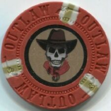 (25) - 13 gm OUTLAW COWBOY SKULL poker chips - Red $5 - Great for POKER BOUNTY