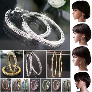 Ohrringe Creolen Silber Gold plattiert 3-8cm Strasscreolen Schmuck Damen VO7