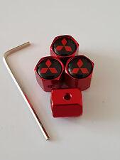 MITSUBISHI RED ANTI THEFT DUST VALVE CAPS ALL MODELS RETAIL PACK SHOGUN MIRAGE