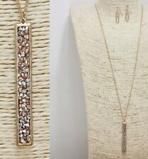 Long Gold and Peach Colored FASHION Necklace Set