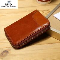 Men's Genuine Leather Business RFID Blocking Card Holder Zipper Coin Purse Brown