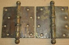 (2) Antique 3-1/2 Inch Square Solid Brass Door Hinge, Ball Finial