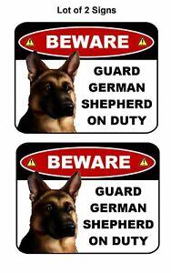 "2 Count PCSCP ""Beware Guard German Shepherd on Duty"" 9 x 11.5 Laminated Dog Sign"