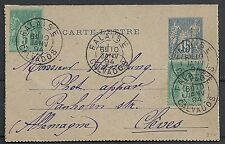 France 1894 uprated Carte-Lettre Falaise to Cleve