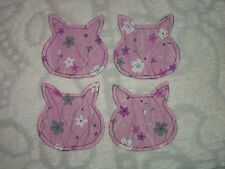 Set of 4 Shabby Cat Head Shaped Silhouette Coasters~Pink Floral~Felt Backed