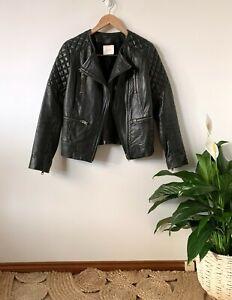 GORMAN buttery soft leather black biker jacket sz 8 | ex cond