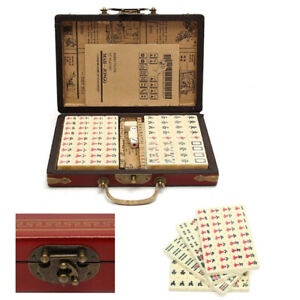 144 Tiles Mah-Jong Set Portable Chinese Mahjong Travel Party Game Vintage Box