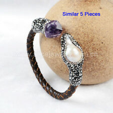 5 Strands Natural Pearl & Amethyst Quartz CZ Bangle With Leather Wrapped QJ150