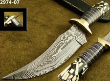 "11"" HANDMADE DAMASCUS STEEL HUNTING BOWIE TRAILING KNIFE W/SHEATH (2974-7h"