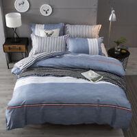 Simple Striped Quilt Cover Set Cotton Duvet Cover Bedding Set Single Queen King