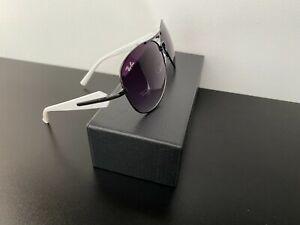 Vintage Ray-Ban 58012 63-12-140 Black & White Aviator Sunglasses Gradient Lens