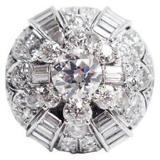 5.05 Carats of Diamonds Art Deco Platinum Dome Ring