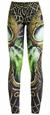 Nero Marrone Verde sacred Oak GAIA Stampato Stretch Leggings pantaloni 12 14 M L