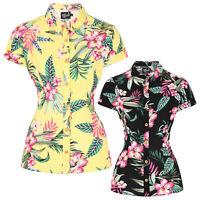 Hell Bunny Kalani Tropical Floral Retro Vintage Hawaii Shirt Blouse Top