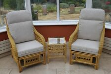Portofino Cane Conservatory Furniture Duo Set- 2 Chairs and a Side Table-coffee