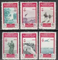 Spanish Morocco, Complete set mint stamps MH. 1954 EDIFIL Nº 394/399