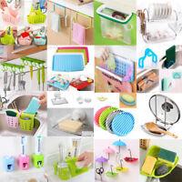 Silicone/Plastic Drain Shelf Sponge Storage Rack Holder Hook Kitchen Supplies
