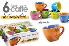 SET 6 TAZZINE CAFFE' TAZZE DECORO SMORFIE FACCINE IN CERAMICA GICOS 16721