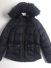 BNWT GORGEOUS LADIES JACK WILLS JACKET PADDED WITH DOWN WITH HOOD BLACK SIZE 10