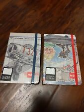 2 Pack hardcover Notebooks W/Page Straps Planes Theme 1 Graph 1 plain