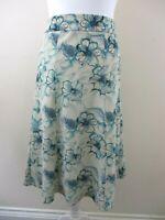 Honor Milburn ( EWM) size 18 flared panel skirt green blue floral pretty casual